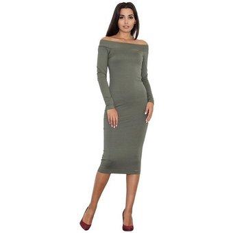 FIGL Abendkleid mit langem Arm und Carmen-Ausschnitt