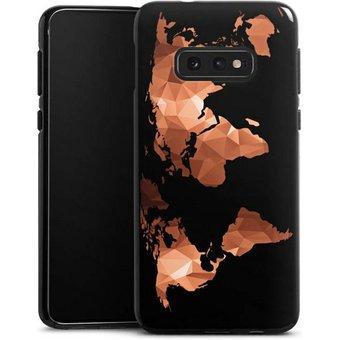 DeinDesign Handyhülle Worldmap Triangle ohne Hintergrund Samsung Galaxy S10e, Hülle Weltkarte Landkarte Bronze