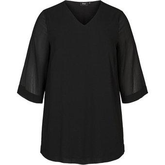 Zizzi Longbluse Grosse Grössen Damen Bluse mit 3 4 Ärmeln und V Ausschnitt