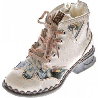 TMA Leder Stiefeletten Schuhe TMA 5171 Boots gefüttert Stiefelette Gefüttert, Used Look, Zeitungsdruck, Herbst, Winter