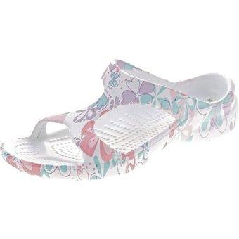 Scandi Damen Pantolette Schuhe EVA Sohle Latschen Bandage Zehentrenner Blumen, Schmetterlinge