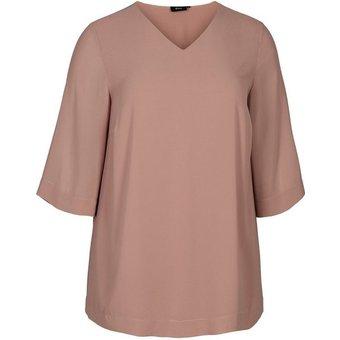 Zizzi Longbluse Grosse Grössen Damen Einfarbige Bluse mit 3 4 Ärmeln und V Ausschnitt