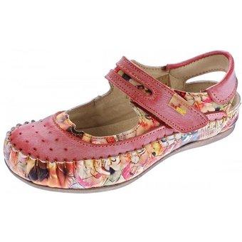 TMA Damen Leder Ballerinas Schuhe Sandalen TMA 5068 Sandale Used Look, Zeitungsdruck, Muster variieren