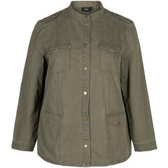 Zizzi Cargojacke Grosse Grössen Damen Cargo Jacke mit Print, Knöpfen und Taschen