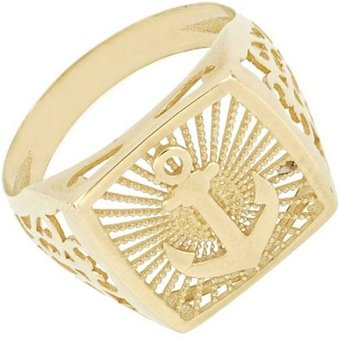 Firetti Goldring Anker, seitliche Ornamente, glänzend, strukturiert