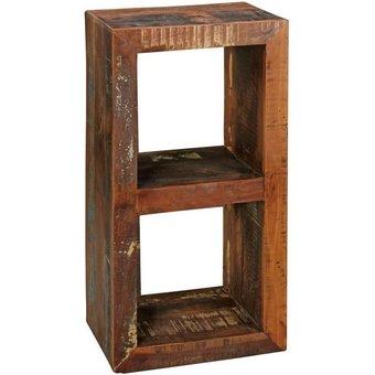 Wohnling Standregal WL5.073 , Bücherregal Kalkutta 45 x 35 x 90 cm Massivholz Regal mit 2 Ebenen Cube Beistelltisch Wohnzimmer Shabby-Chic