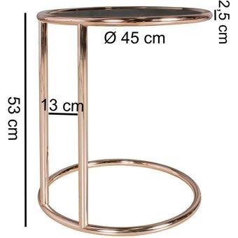 FINEBUY Couchtisch SuVa10596_1 , Design Couchtisch 45 cm Rund Glas Lounge Beistelltisch verspiegelt Moderner Wohnzimmertisch Glastisch Sofatisch Tisch für Wohnzimmer