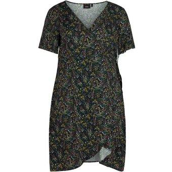 Zizzi Wickelkleid Grosse Grössen Damen Wickel Kleid mit kurzen Ärmeln und Print