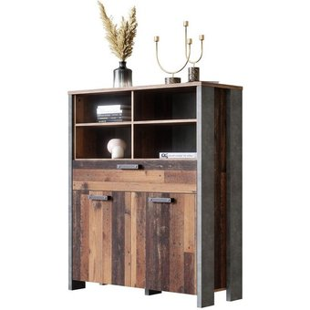 Newroom Sideboard Kane , Sideboard Old Wood Beton Optik Vintage Industrial Highboard Anrichte Wohnzimmer