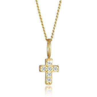 Diamore Kette mit Anhänger Kreuz Religion Diamanten 0.06 ct 585 Gelbgold , Kreuz