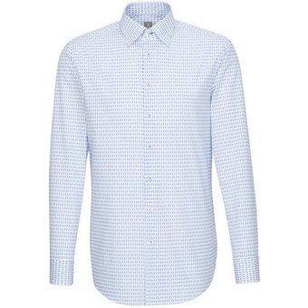 Jacques Britt Businesshemd Custom Fit Custom Fit Langarm Under-Button-Down-Kragen Print