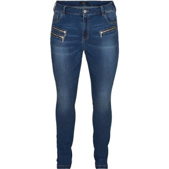 Zizzi Slim-fit-Jeans Grosse Grössen Damen Sanna Extra Slim Fit Jeans mit regulärem Bund