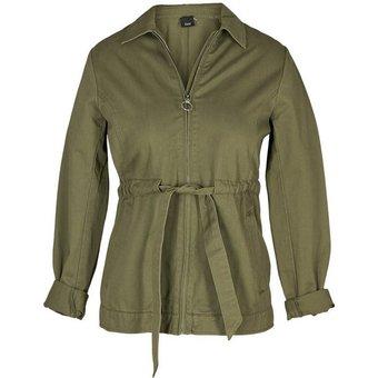 Zizzi Cargojacke Grosse Grössen Damen Cargo Jacke mit Reissverschluss und justierbarer Taille