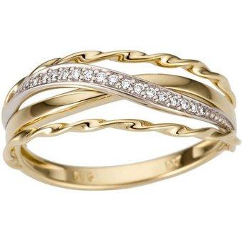 Firetti Goldring Luxuriös, teilweise mehrreihig, bicolor, Glanz, massiv , mit Brillanten