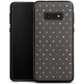 DeinDesign Handyhülle braungoldene Pünktchen auf grau Samsung Galaxy S10e, Hülle Polka Dots Punkte Pattern