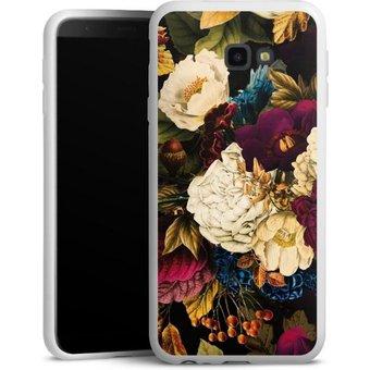 DeinDesign Handyhülle Dark Vintage Flowers Samsung Galaxy J4 Plus 2018 , Hülle Vintage Blumen Muster