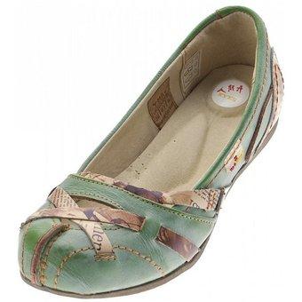 TMA TMA 5088 Ballerina Leder Damen Schuhe Slipper Keilpumps Used Look, Zeitungsdruck