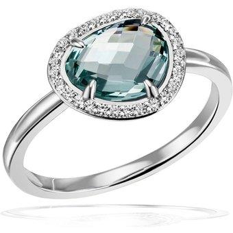goldmaid Damenring 925 Silber Glasstein blau mit Zirkonia