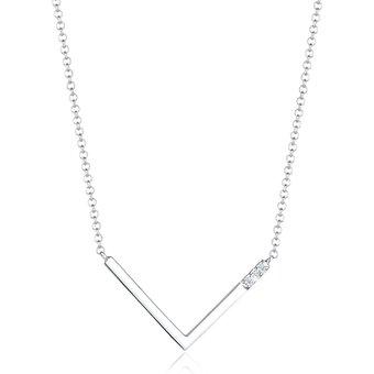 Diamore Collierkettchen V-Kette Geo Diamant 0.06 ct. 925 Silber