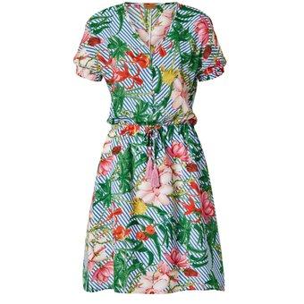 ODEON Kleid mit Blumen- und Streifen-Druck