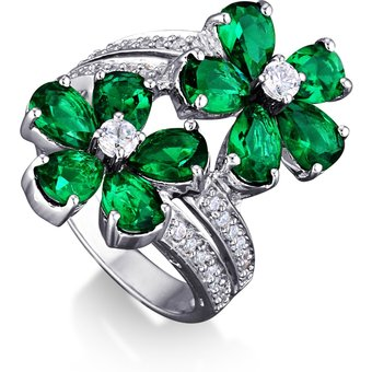 MONA MONAMOUR Ring 925 Sterling Silber rhodiniert Zirkonia grün