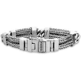 Kuzzoi Armband Herren Panzer Gliederarmband Modern 925 Silber