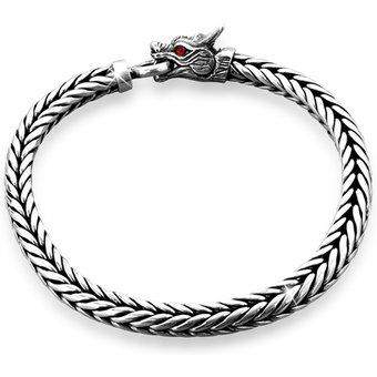 Kuzzoi Armband Herrn Drache Zirkonia Ringverschluss 925er Silber