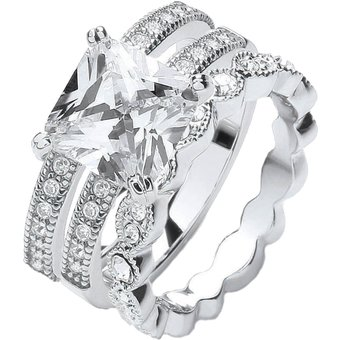 Buckley London Ring Messing rhodiniert 3-teilig Kristalle