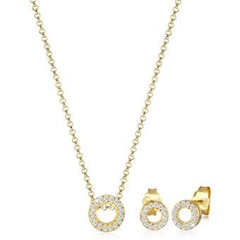 Diamore Schmuckset Kette Ohrstecker Set Diamant 0.43 ct. 375 Gelbgold