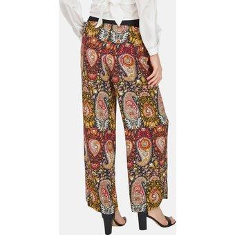 Nicowa Weite Hose mit Nieten und floralem Paisley-Muster NOSTIFO