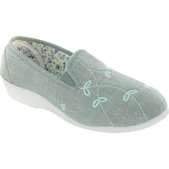 Mirak Hausschuh Bessie Damen Leinen Schlappen Damen Schuhe