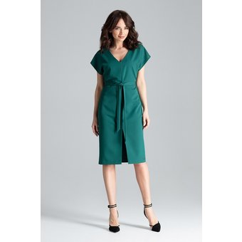 LENITIF Kleid mit elegantem Gürtel L032