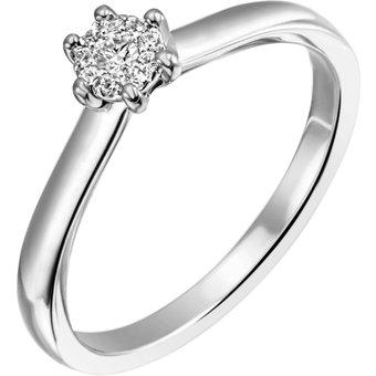 Firetti Diamantring Verlobung ca 240 mm breit mit Krappenfsassung glänzend massiv