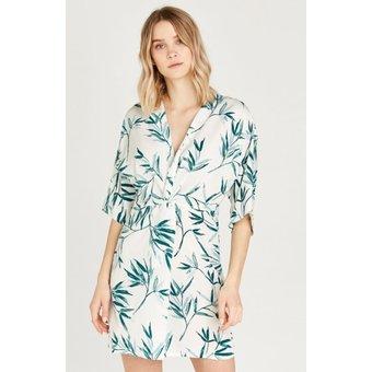 Apricot Druckkleid Leaf Knot Front Kimono Dress