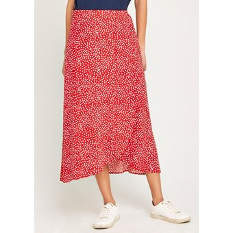 Apricot Wickelrock Scattered Dots Tie Wrap Skirt