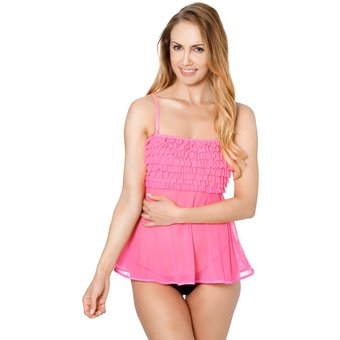 Coquette Ruffle Babydoll Neon Pink Onesize XL