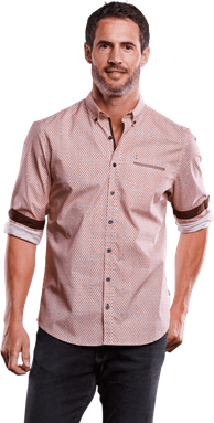 engbers Herren Gemustertes Hemd Comfort-Stretch rot regular gemustert Button Down