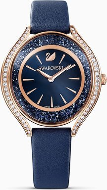 Crystalline Aura Uhr, Lederarmband, blau, rosé vergoldetes PVD-Finish