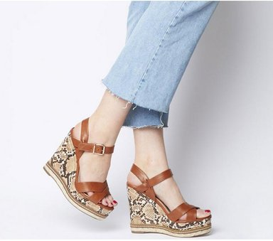 Office Halcyon Feature Wedge TAN WITH SNAKE,Bunt