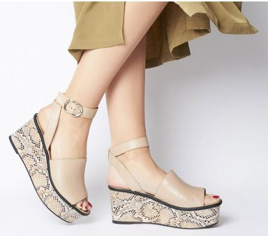Office Money Honey Leather Wedge NUDE SNAKE LEATHER,Naturfarben