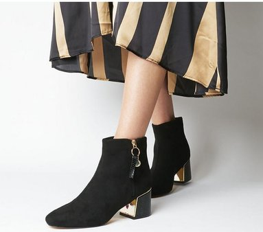 Office Aeriel- Side Zip Metal Heel BLACK WITH GOLD HARDWARE,Schwarz
