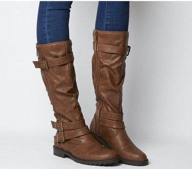 Office Kirsty- Flat Buckle Knee Boot CHOC,Braun,Schwarz