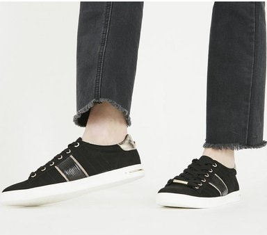 Office Famously- Lace Up Trainer BLACK WITH SILVER,Schwarz,Weiß