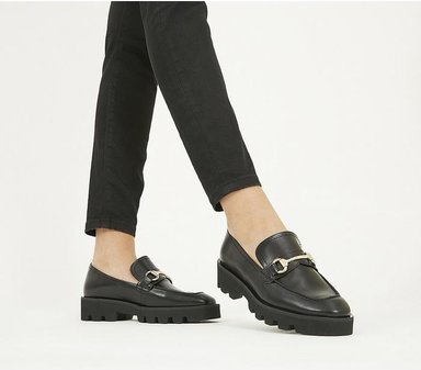 Office Fixate- Chunky Trim Loafer BLACK LEATHER,Schwarz