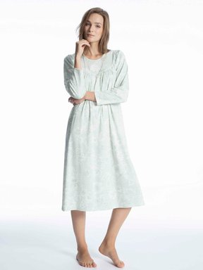 CALIDA Soft Cotton Nachtkleid Langarm, Länge 110cm