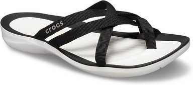 Crocs Swiftwater™ Webbing Flips Damen Black / White