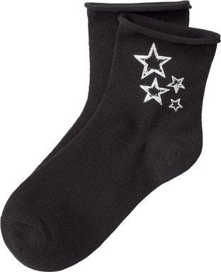 1 Paar Damen Socken mit Rollkante