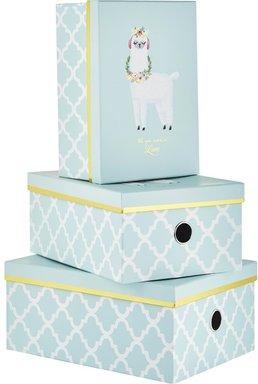 Aufbewahrungsboxen, 3er Set ¦ blau ¦ Metall, Papier ¦ Maße (cm): B: 28 H: 21,5 T: 12,5 - Höffner