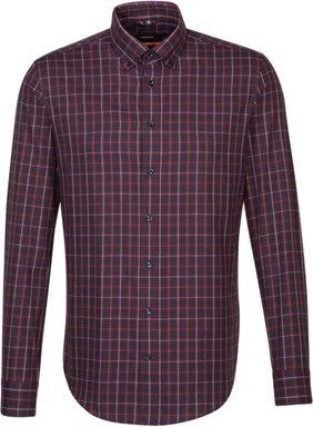 Bügelleichtes Twill Business Hemd in Slim mit Button-Down-Kragen