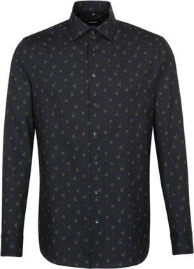 Bügelleichtes Twill Business Hemd in Shaped mit Kentkragen